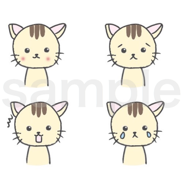 動物アイコン!吹き出し用に4表情描きます ブログ記事用にお使いください!3日以内に納品可能!