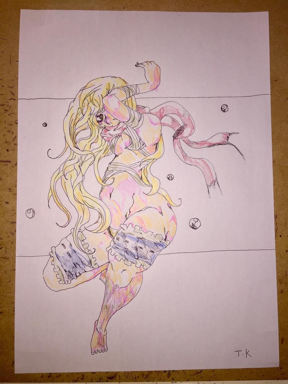 大人の方のイラストを描いてお買い上げよろしくします てい、けい。イラストのセクシーな色鉛筆の塗り方が良いイラスト