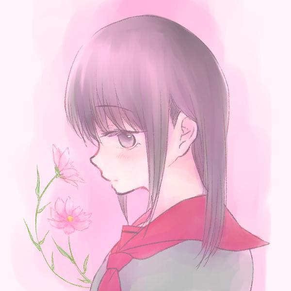 お花を添えた女の子のイラスト描きます SNSのアイコンなどにいかがでしょうか?