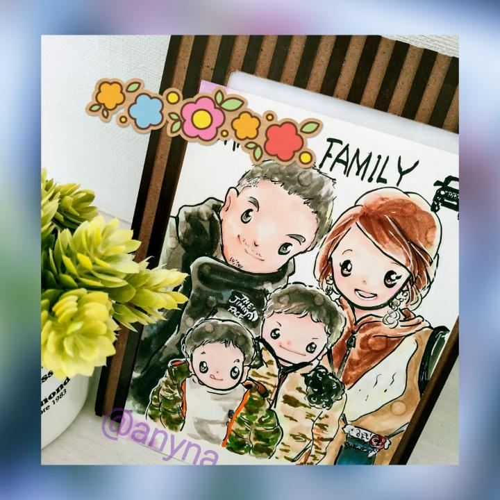 記念日プレゼント 思い出にアナログ似顔絵を描きます お試し期間割引中!原画郵送 誕生花、好きなものも描き込みます