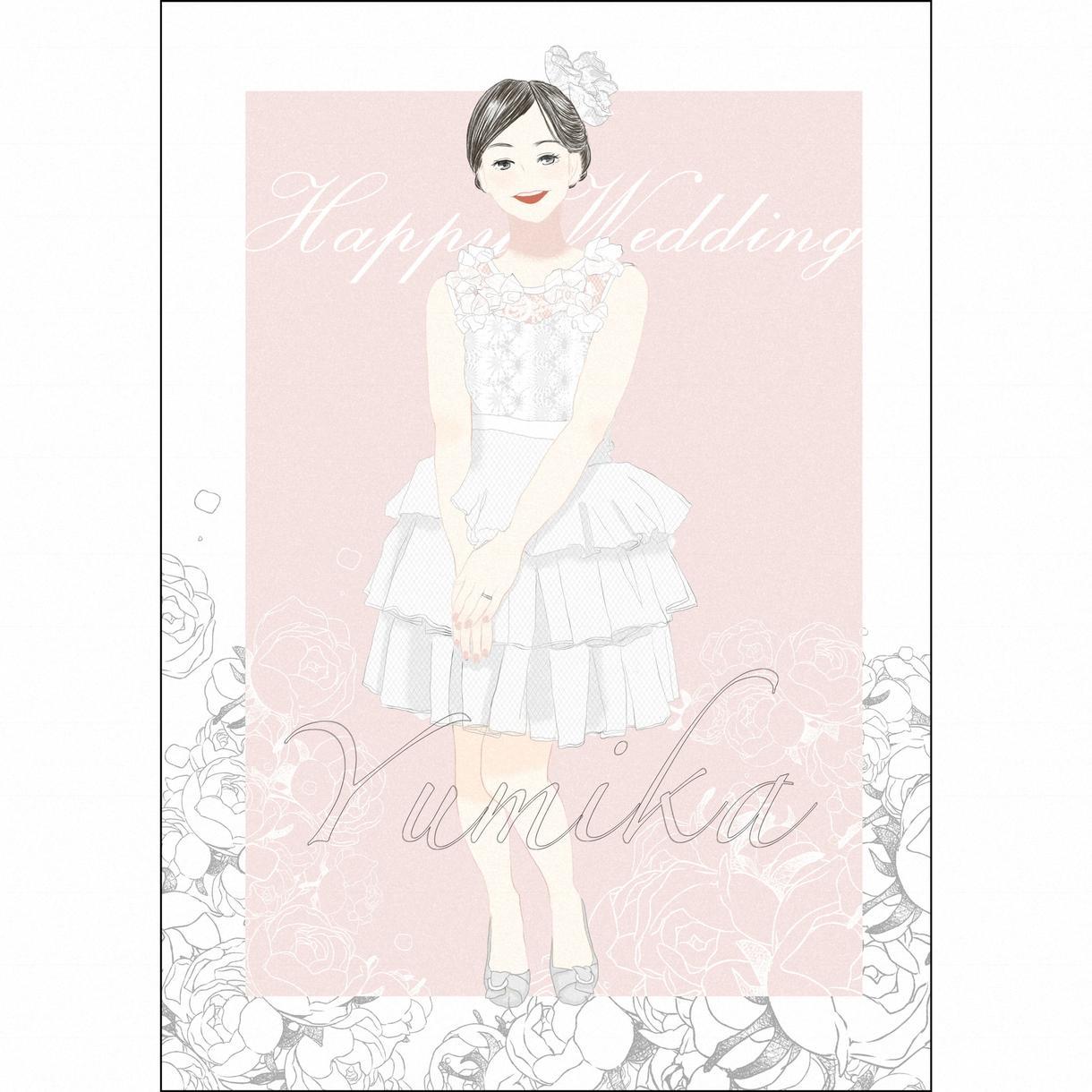 写真をもとにドレス姿をイラストにします ウェディングやパーティなどの記念に如何ですか?