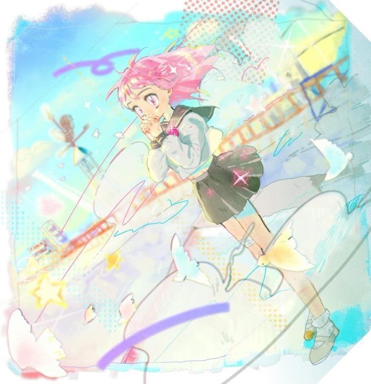 きらきらSNSアイコンイラスト描きますます 風が吹き抜けるような、ゆめかわ、きらきら、カラフルな少年少女