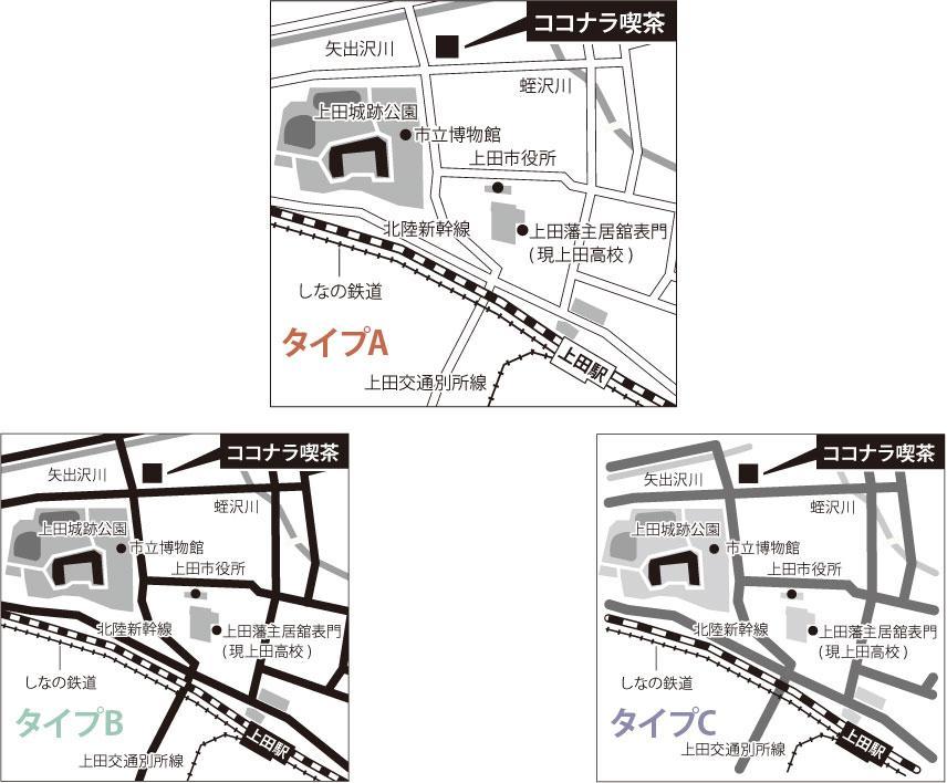 分かりやすいシンプル地図を作成します 名刺、案内状、広告、HPに。デザインが選べます