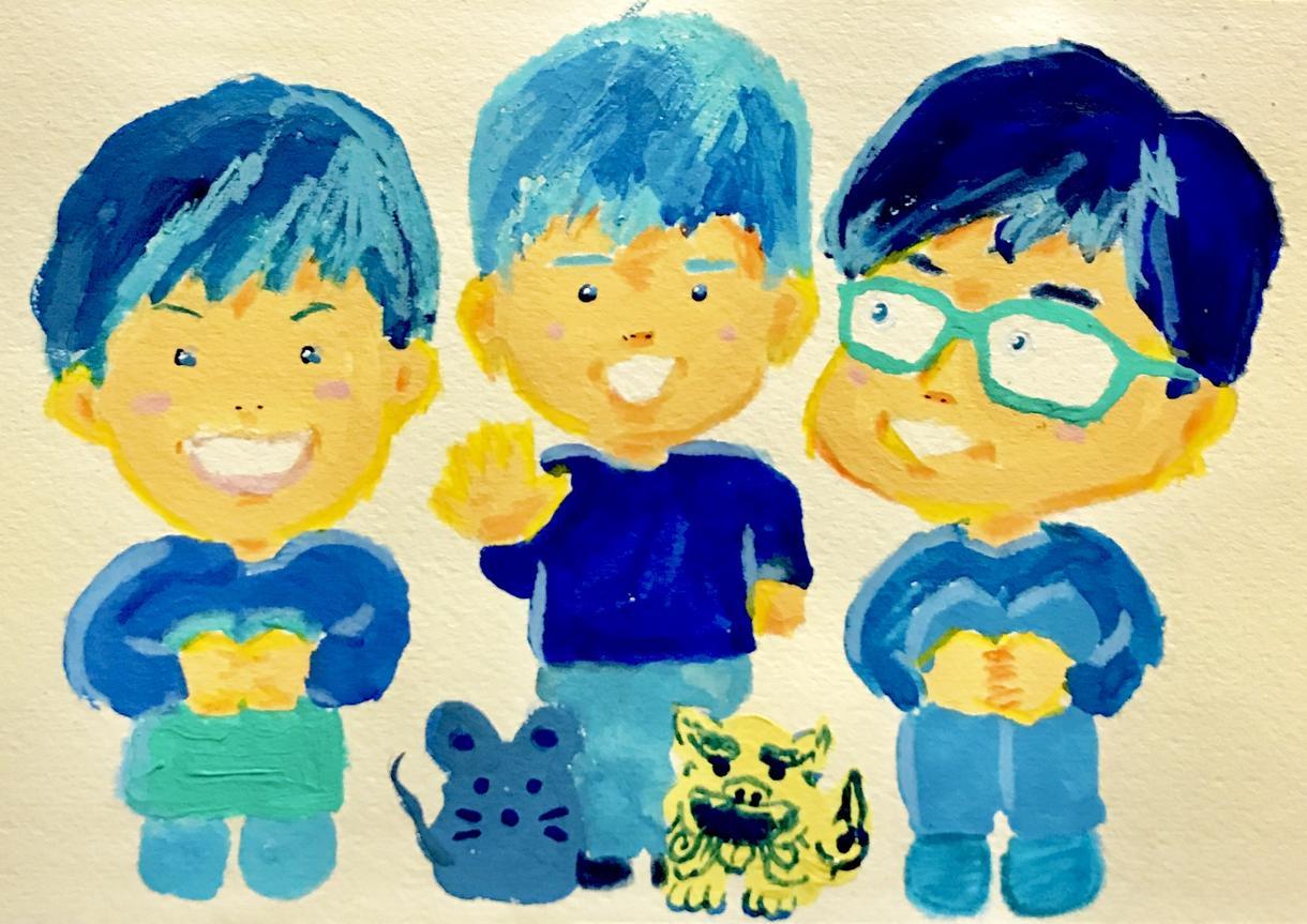 可愛いキャラクターイラスト風青い似顔絵を描きます SNS用アイコン・ホームページバナー・名刺等、ディフォルメ!