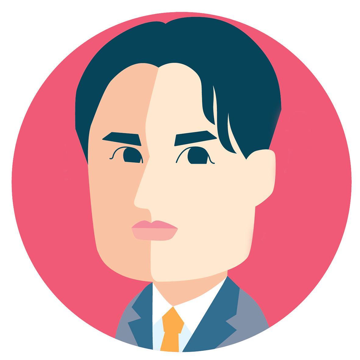 プチアイコン フラットな似顔絵をデザインします 超シンプル お顔をデザインして描きます。