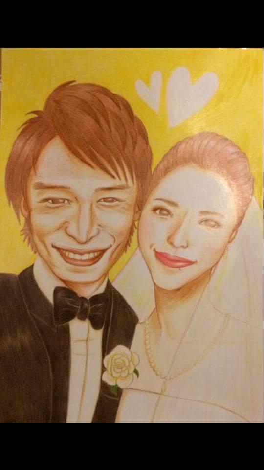 ウェルカムボードの似顔絵を描いてます 結婚式、結婚を控えた友達や家族へ、