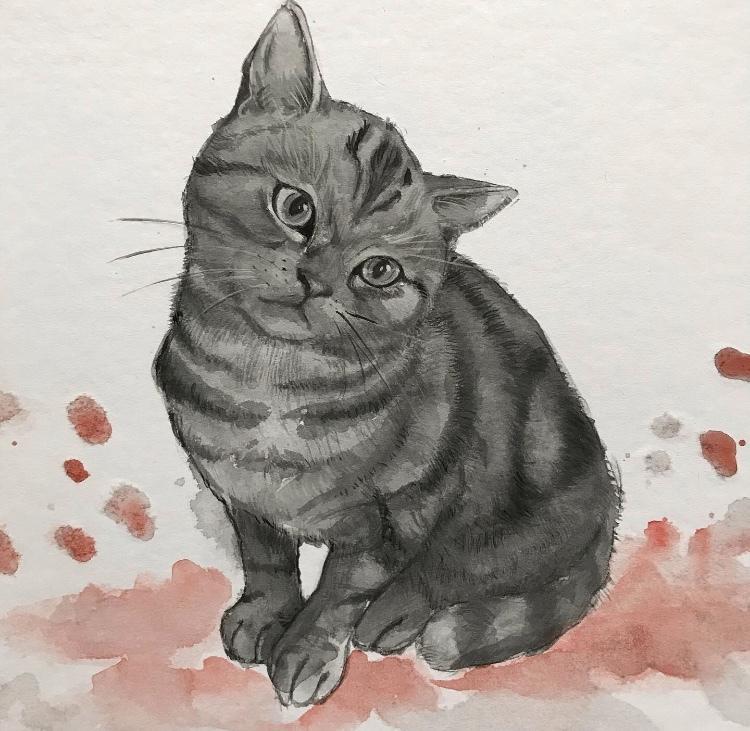 あなたの可愛いペットの肖像画を描きます 水墨画風のタッチで、個性的に! イメージ1