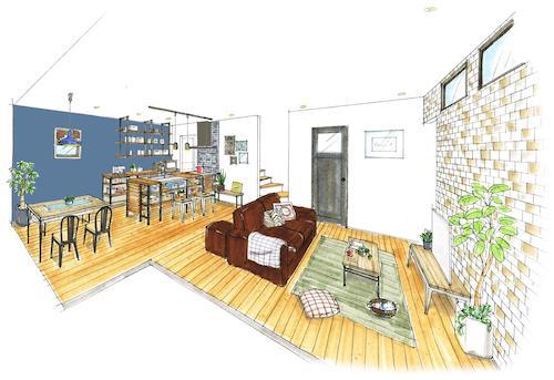 初回限定価格:住宅の外観内観パース手描きします おしゃれでカワイイ!手描きパースならおまかせ下さい。