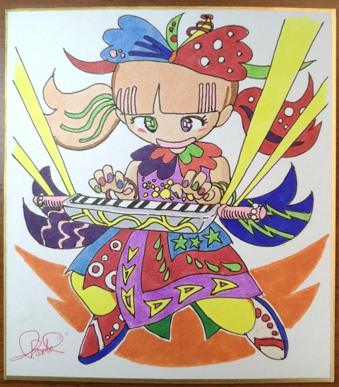 ミニ色紙イラスト作成します ちょっと可愛らしい系のマンガ風キャラのミニ色紙を、座右に!