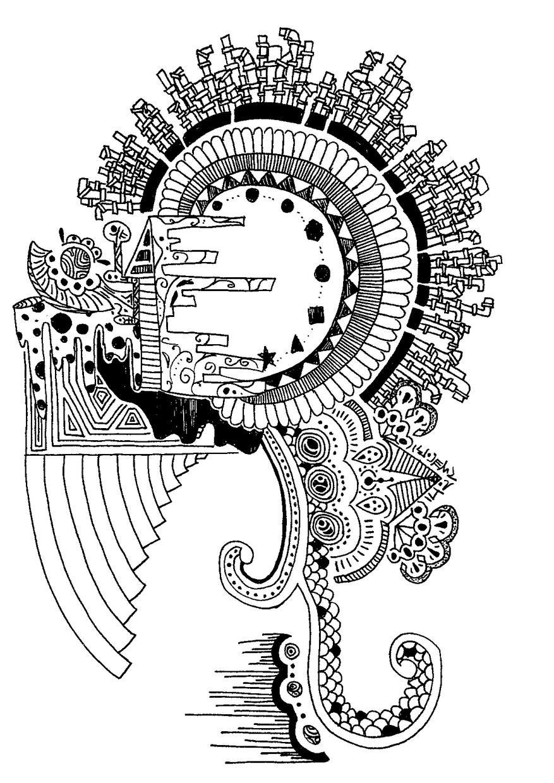 オリジナルイラスト(モノクロ)描きます 細かい模様を組み合わせたペン画が得意です。SNSなどにどうぞ