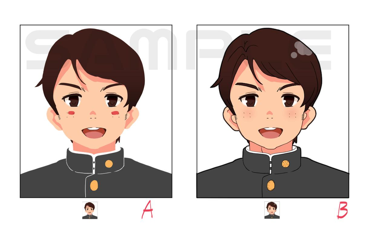 シンプルな顔アイコン作成します アニメ絵柄がお好きな方や、お子様・ご学友へのプレゼントに
