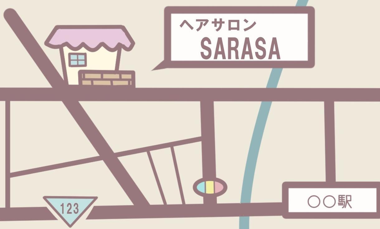 思わずお店に行きたくなる!イラスト地図を作ります 女性にも安心して来てもらえるデザイン♪エステ・カフェの案内に