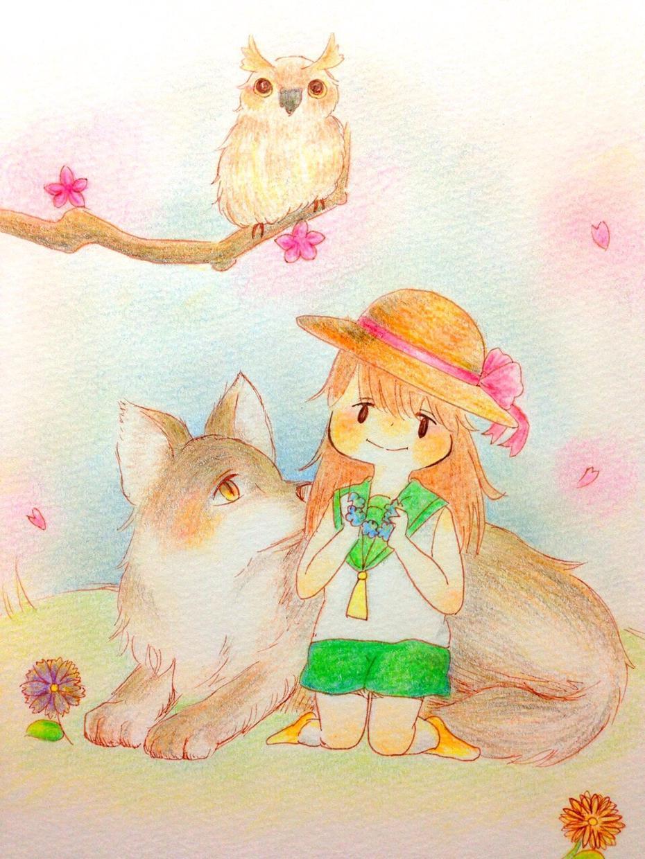 ゆるふわあったかのイラスト描きます 色鉛筆で描いたゆるい女の子や