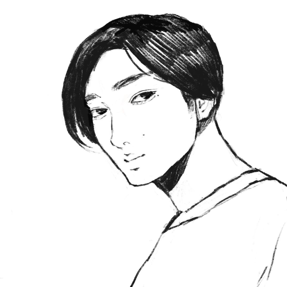 鉛筆+1色でオシャレな似顔絵描きます アイコン利用にもってこいな似顔絵イラストを描きます!