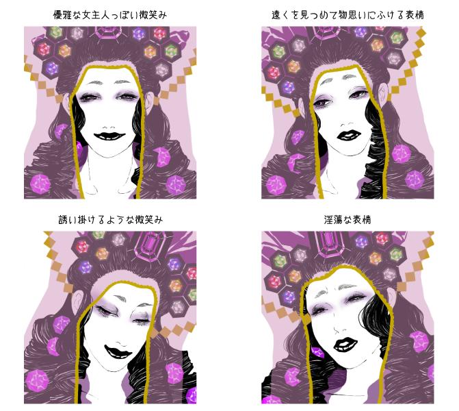 キャラクター表情イラスト作成します ロック、和風、ゴシック風のキャラクターを探してる方にお勧め