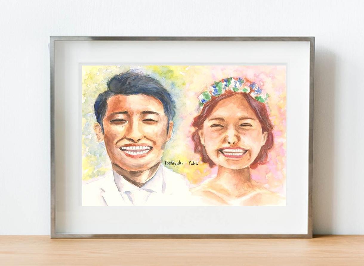似顔絵ウェルカムボード完全オーダーメイドで描きます 水彩画でお二人の幸せな笑顔を心をこめて描きます