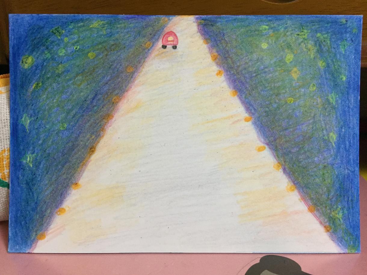 手書きイラストお届けいたします 『高速道路から見る夜景』手書きの温もりをどうぞ