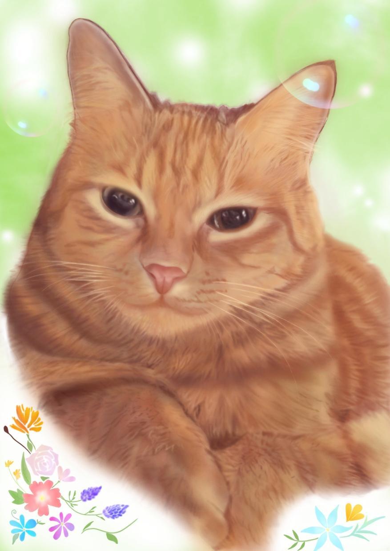 ペットの似顔絵をデジタルイラストで描きます 暖かな似顔絵をデジタルイラストで描きます。
