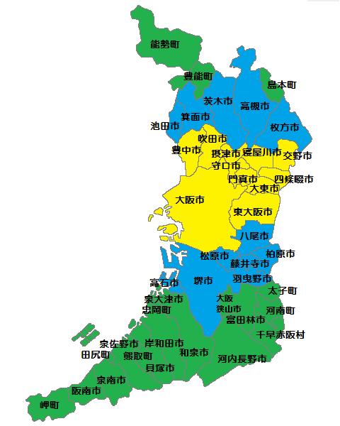 サービスエリア表示用のマップを作ります ホームページやチラシ等に、市町村別に塗り分けた地図をどうぞ