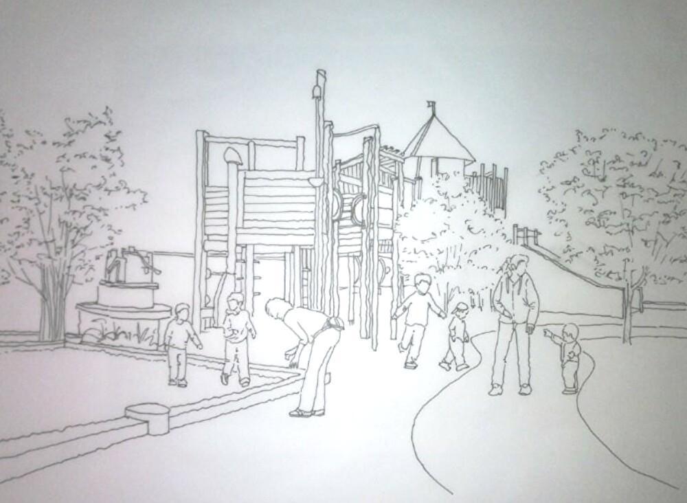 手描きスケッチ作成(モノクロ・カラー)致します 造園・緑化・建築外観、内観スケッチパース(モノクロ・カラー)