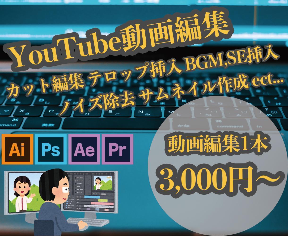 格安価格でYouTubeの動画編集をします 初出品記念!先着3名様1000円引き!料金表あり! イメージ1