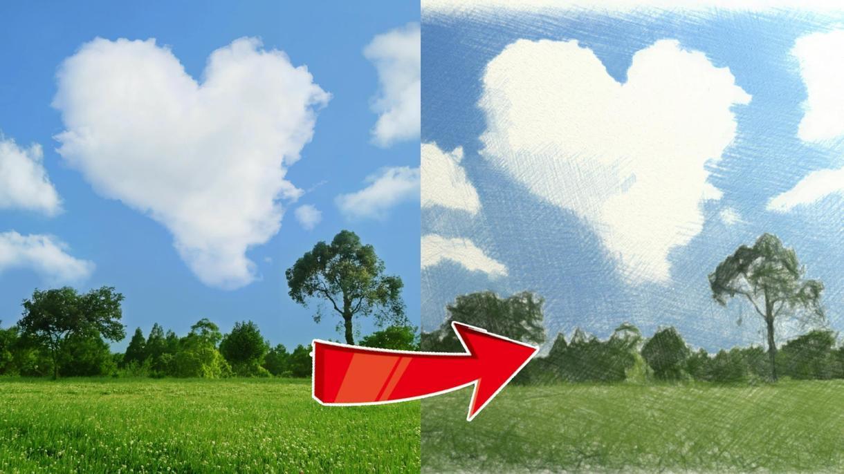 DM必須:写真を色鉛筆で描いたように加工します 1枚の写真をスケッチ風にしたい方へ