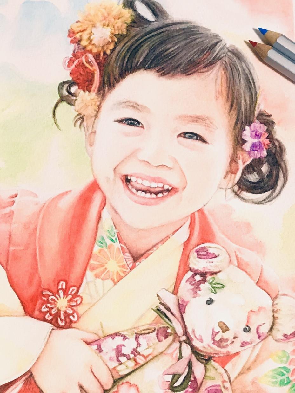 水彩色鉛筆の優しいタッチで似顔絵などお描きます お誕生日や記念日のお祝い、インテリアにおススメです。 イメージ1