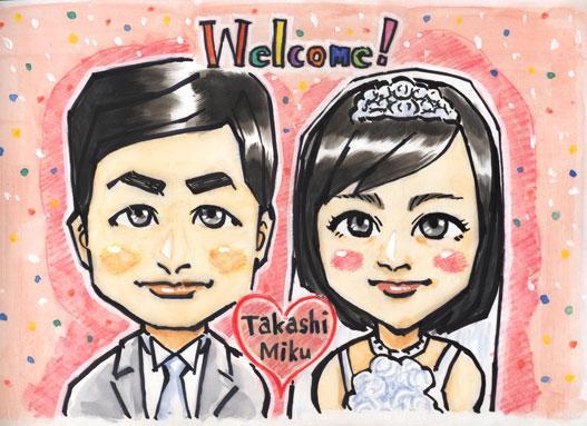 【自宅で高画質印刷が可能】おふたりのお写真から、結婚式の可愛らしい似顔絵を描きます!