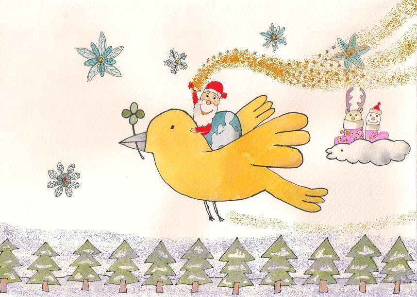 クリスマスポストカードのイラスト描きます ポップなクリスマスカードを贈ろう