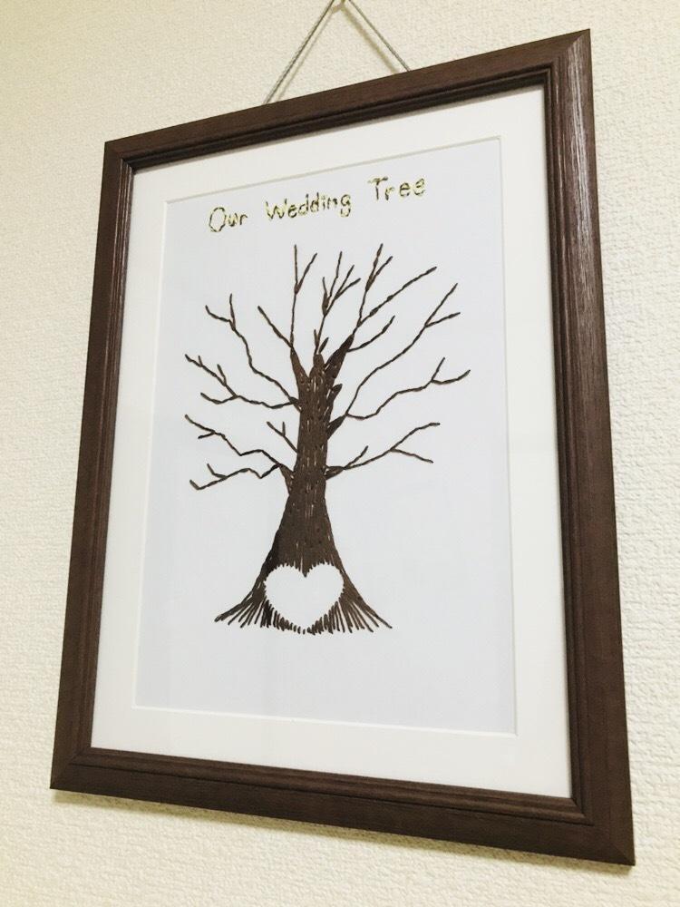 珍しい【紙刺繍】のウェディングツリー作ります 印刷では出せない温かみ!当日友達に驚かれること間違いなし♡