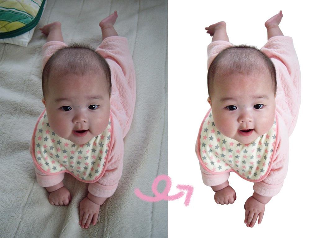 赤ちゃんや可愛いペットの写真、綺麗に切り抜きます 画像加工、オリジナルのアルバムに!背景透過のトリミング
