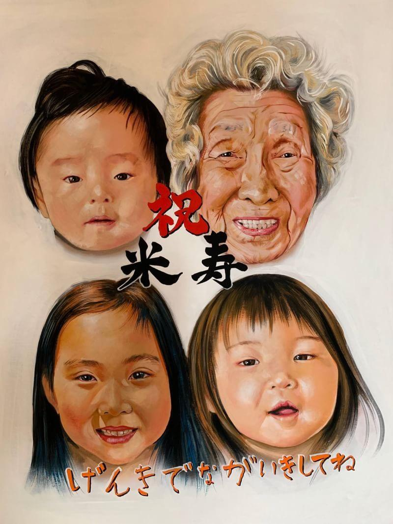 あたたかみのある手描きの似顔絵製作してます アクリル絵の具を使用して写真を元にリアルな似顔絵を描きます。