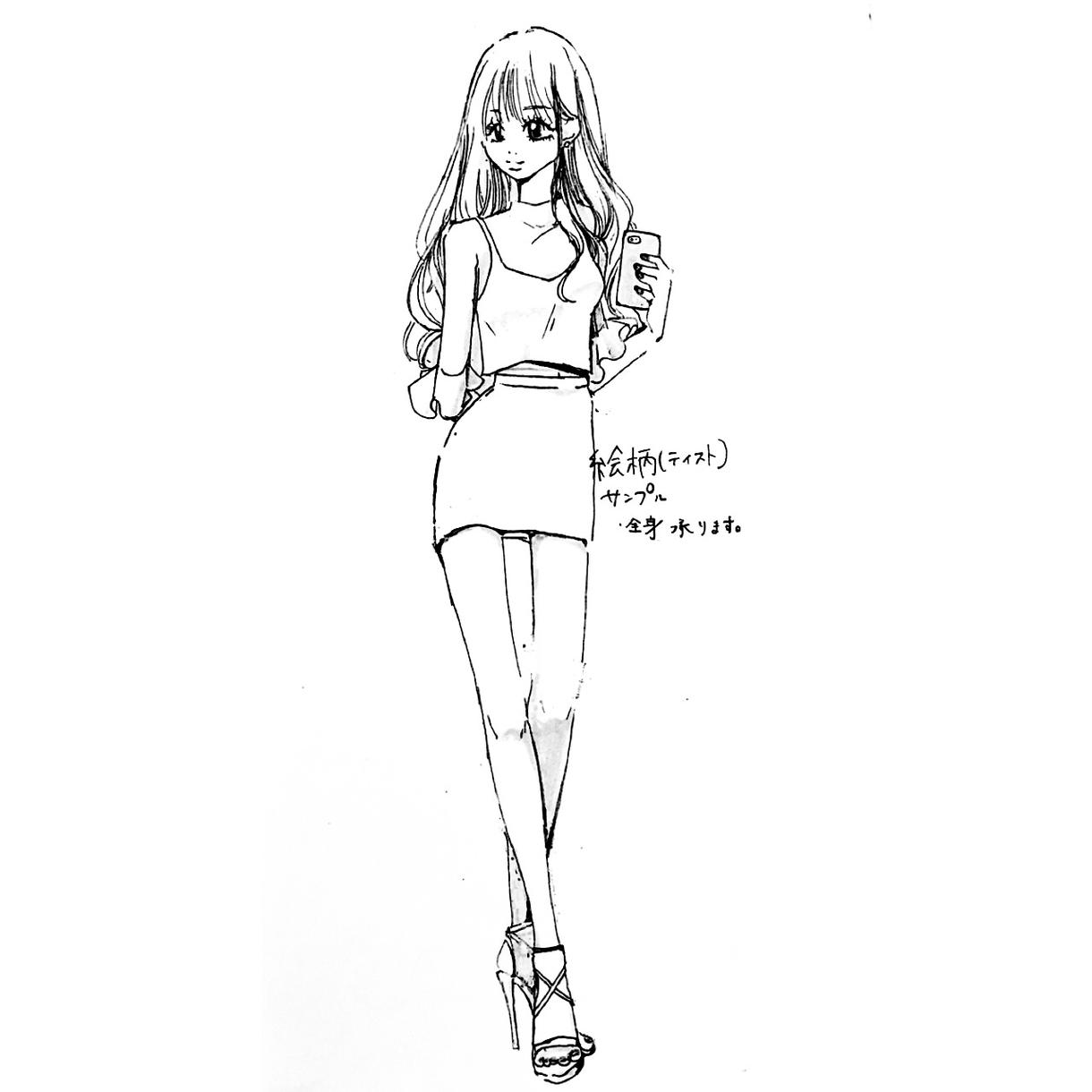 少女漫画風白黒アナログ似顔絵描きます 御要望をお聞かせ下さい。アップも全身も承ります。