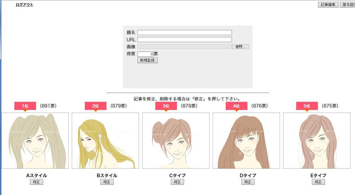 ユーザーの投票クリックで得票をランキング表示します 様々な業種のサイトでご利用してもらっております。
