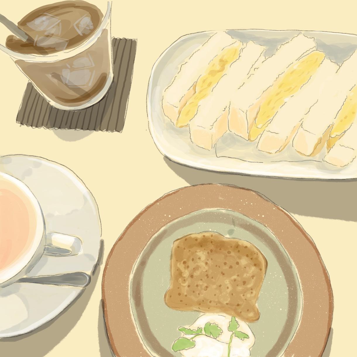 食べ物のイラスト描きます お好きな食べ物や料理を柔らかいテイストで描きます