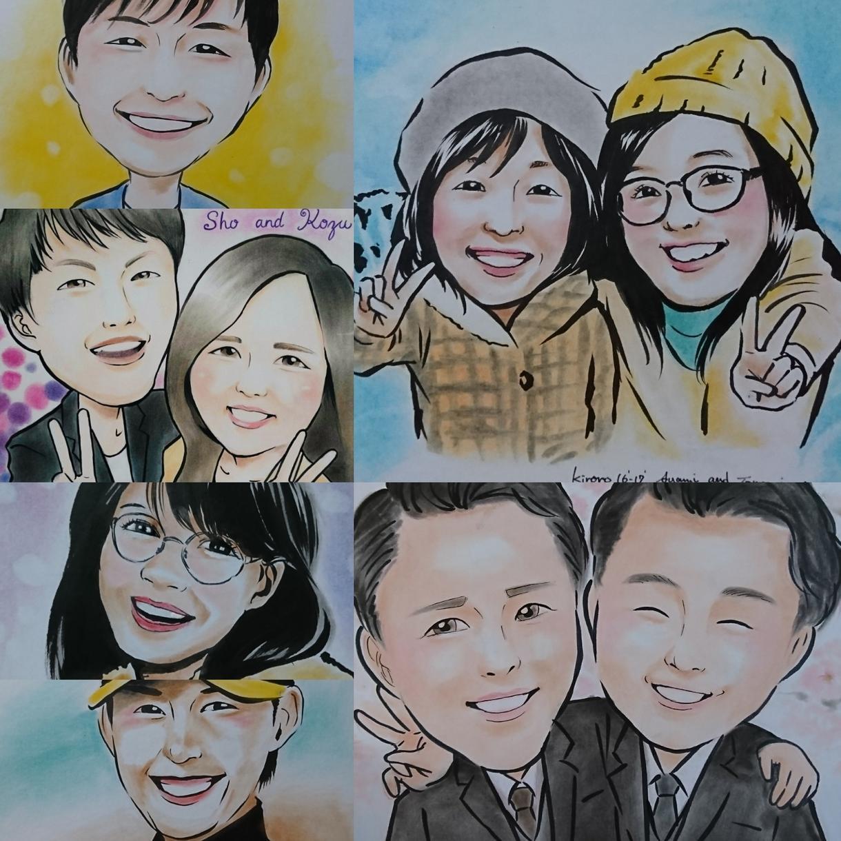 名刺、アイコン等に使える似顔絵を描きます お客様自身はもちろん、ご家族や恋人、友達への贈答にも!