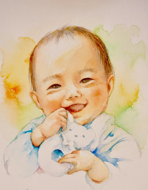 こどもの似顔絵を暖かな水彩画でお描きします 記念日に、成長記録に。プレゼントにもピッタリです!