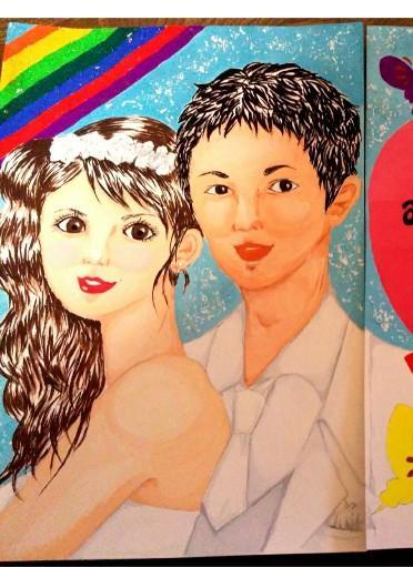 結婚式のウェルカムボードやイベントのPOP手描きで作成します