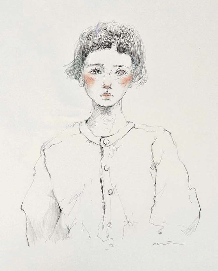 オシャレな抜け感イラスト描きます 繊細タッチとチークの女の子です