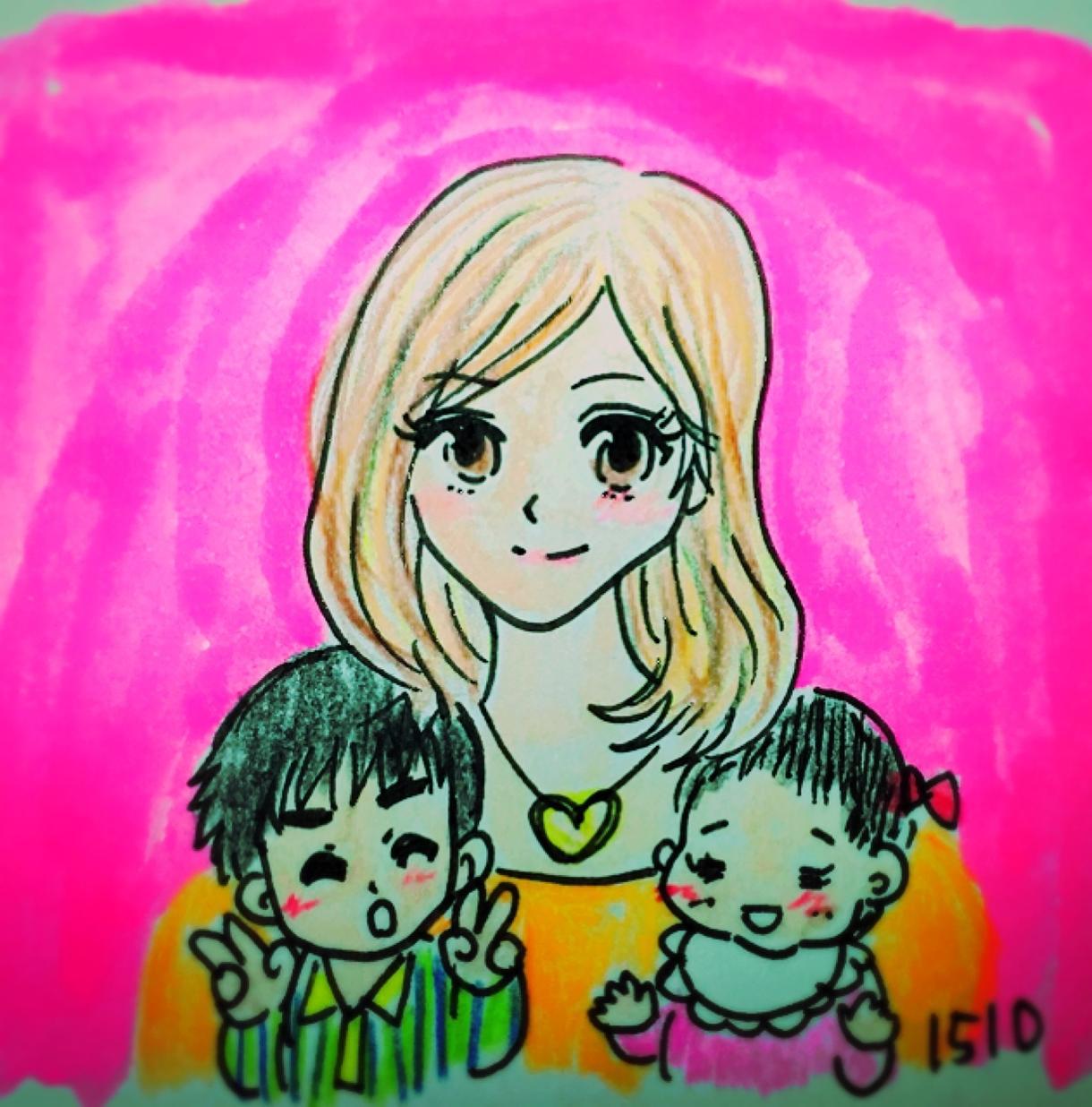 SNS用ママ、パパ、お子さんのアイコン描きます ゆるっと手描きイラストで!直感でお描きします