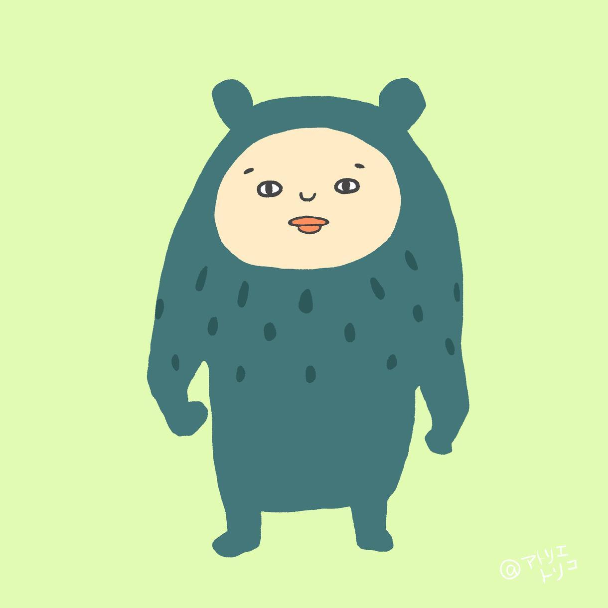 ゆる系シュールな動物着ぐるみアイコン描きます かわいくて、少しシュールなアイコンを使ってみませんか?