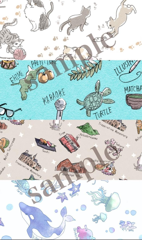 ヘッダー壁紙に 好きな物を散りばめた総柄を描きます わたくし
