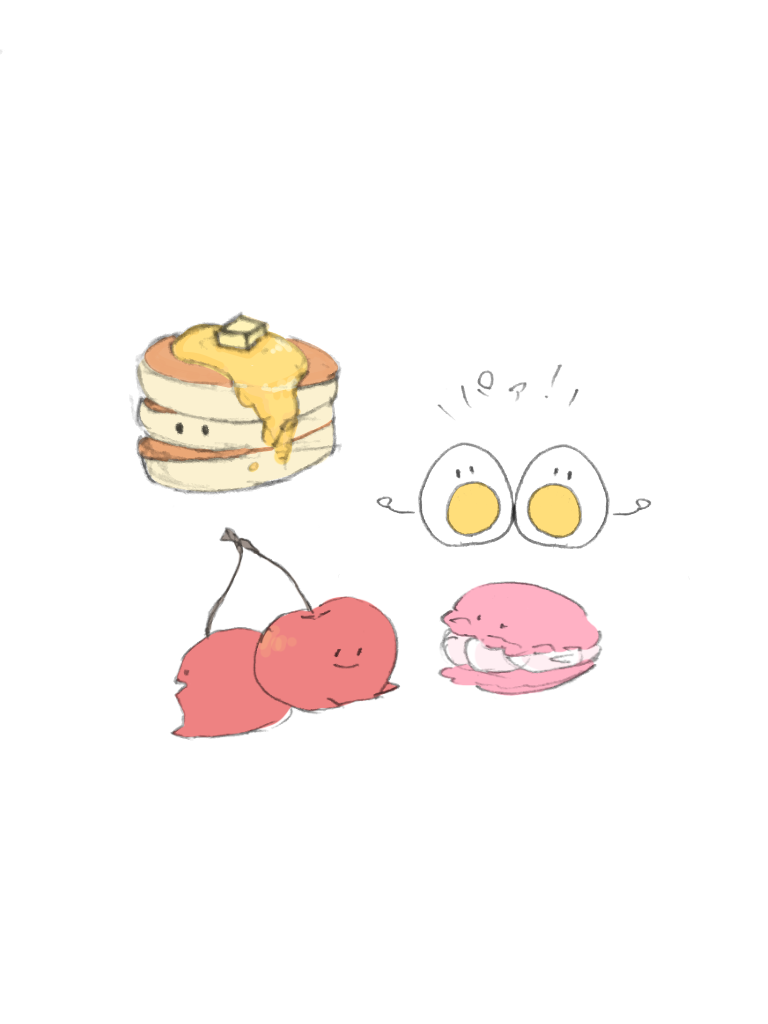 食べ物のキャラクターを描きます ゆるゆるした癒しの食べ物のキャラクター