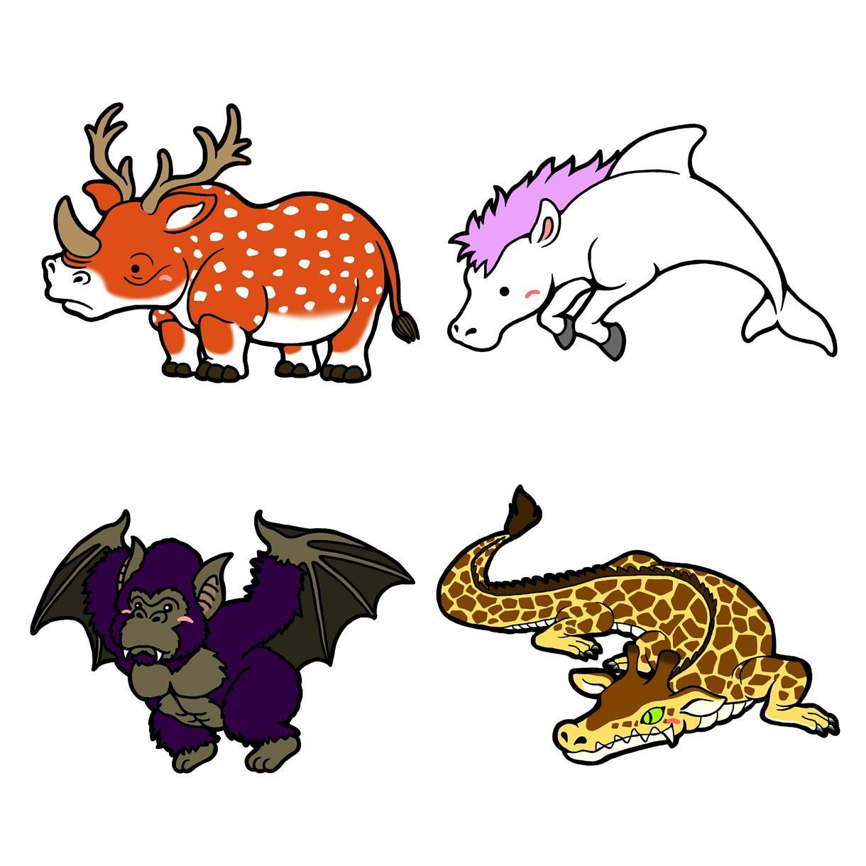 ハイブリッドアニマル描きます 動物を掛け合わせて新しい生き物を作ってみませんか。