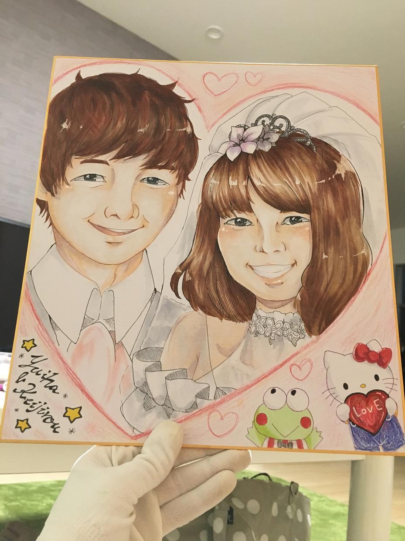 似顔絵描きます 結婚の記念、お子さん誕生の記念に!大色紙から、小色紙まで