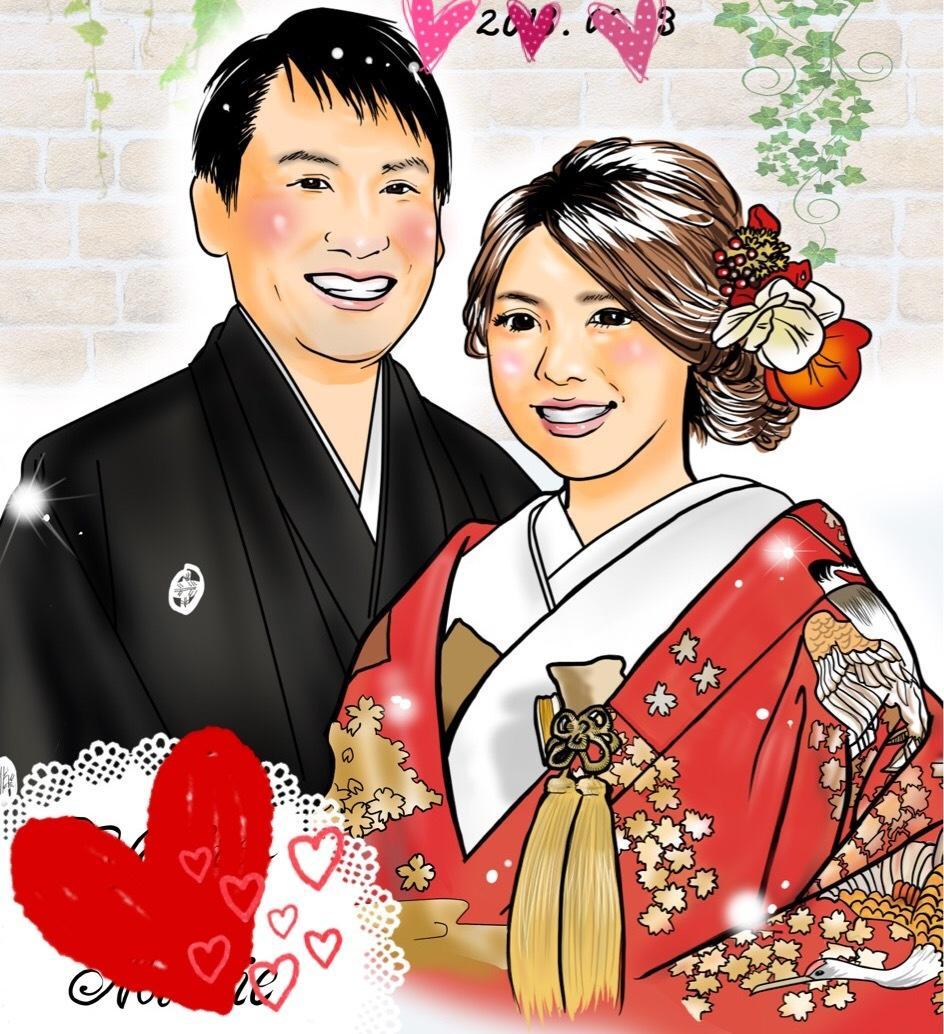 結婚式ウェルカムボードの似顔絵描きます 幸せいっぱいの笑顔でゲスト様をお出迎え!
