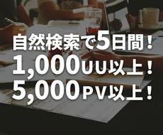 1日200UU以上が検索してからアクセスします 5日間5000PV以上!直帰率改善!国内IPでSPもTABも