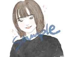 ゆる似顔絵(デジタル)を描きます 鉛筆風の線画に簡単な着色。アナログ風の似顔絵です。