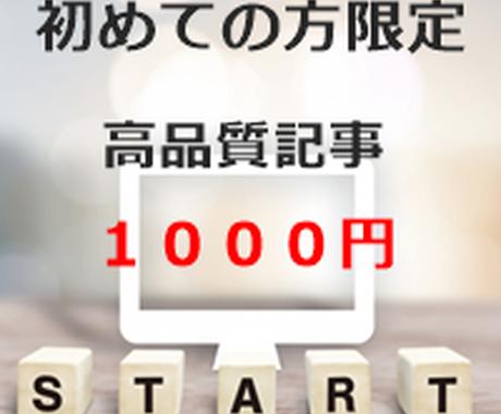 初めての方限定★1000円で記事をお書きします 初回購入者様専用♬キーワードを盛り込んだ記事をお書きします。 イメージ1