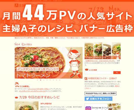 月間44万PV!人気レシピサイトに広告を掲載します 書籍化もされている、料理研究家主婦A子が運営するサイトです。 イメージ1